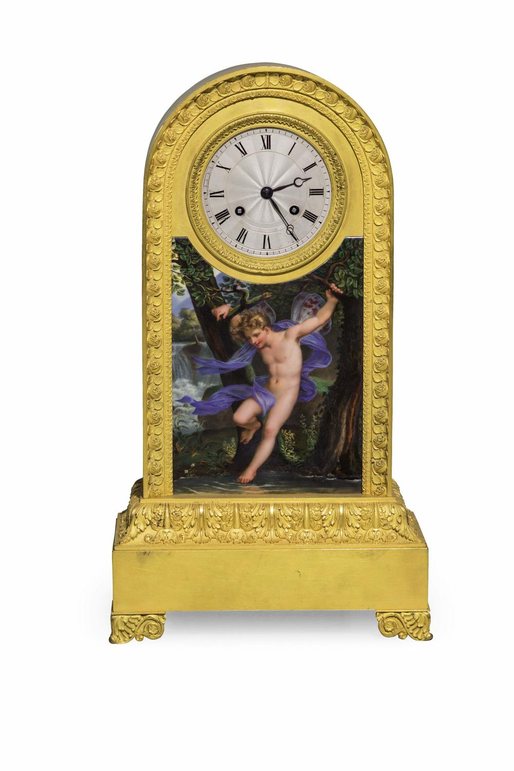 A Gilt bronze and painted mantel Clock.French C1830