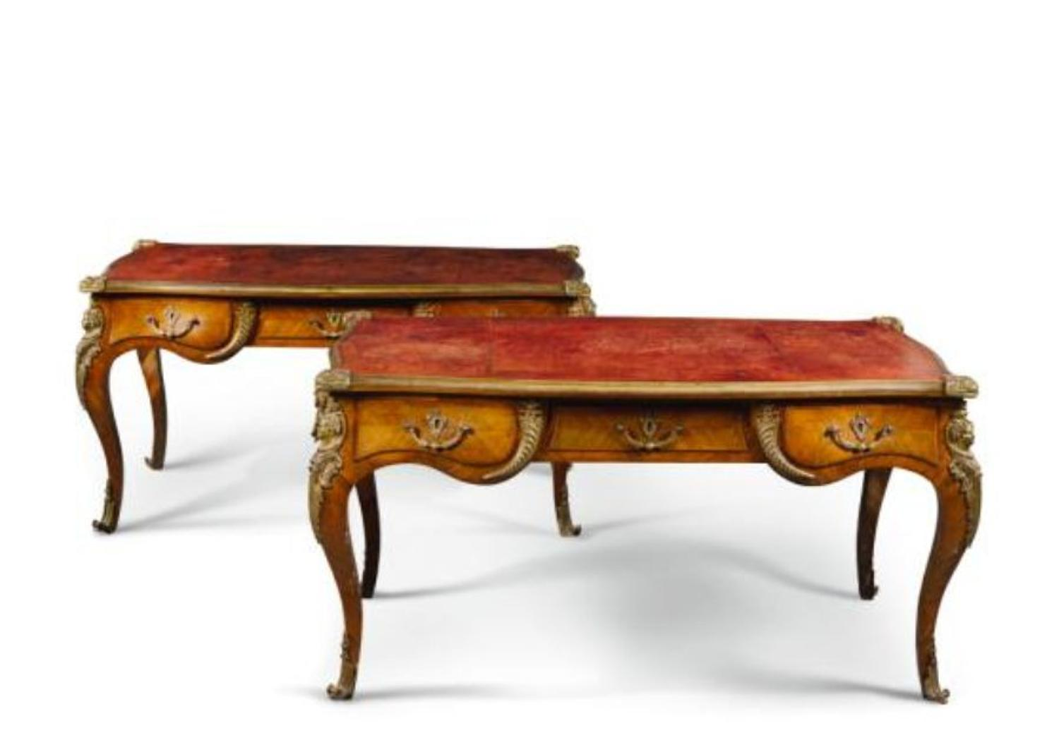 A superb pair of Louis XV stlye Bureau plats Late 19TH C