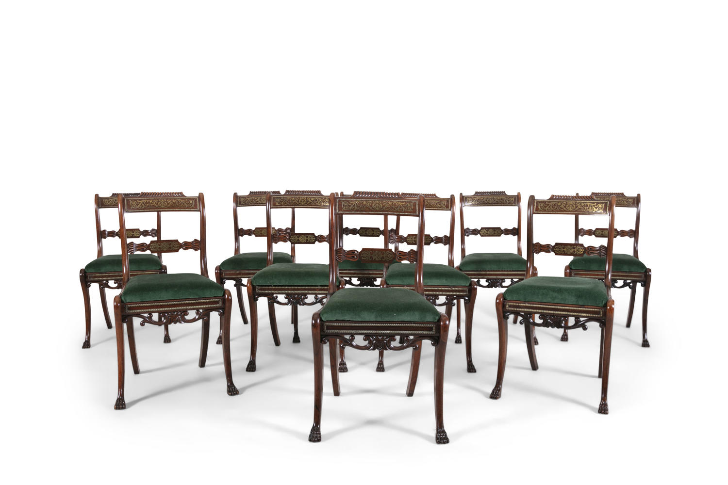 A Superb Set of 10 Regency Brass inlaid Dining Chairs