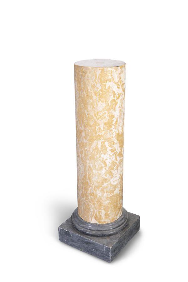A 19TH Century mottled yellow marble Plinth