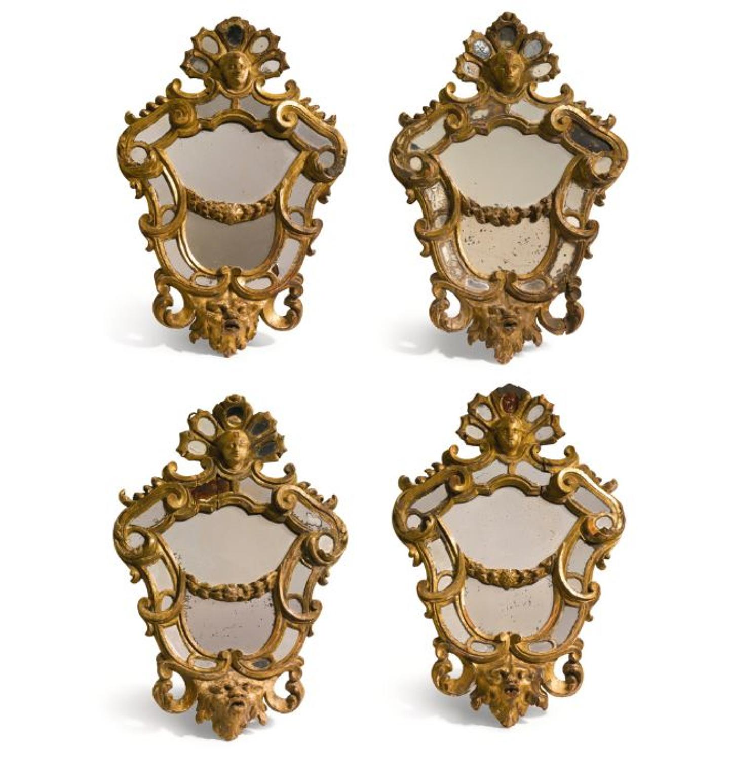 A Set Of Four 18Th century Italian Baroque Mirrors