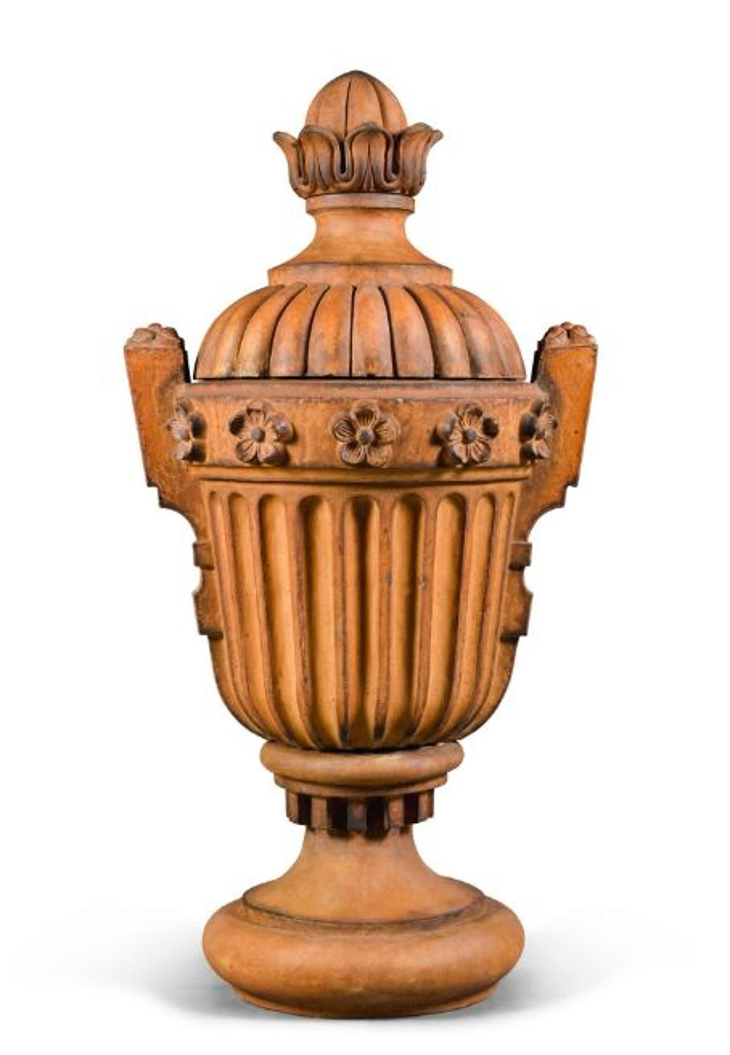 A Neoclassical style Terracotta garden Urn,Late 19TH century