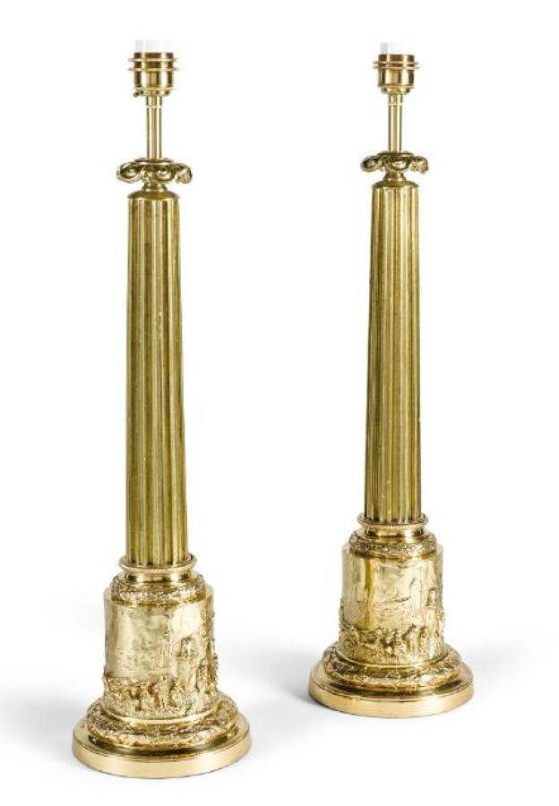 A pair of William VI brass Table Column Lamps,Circa 1840