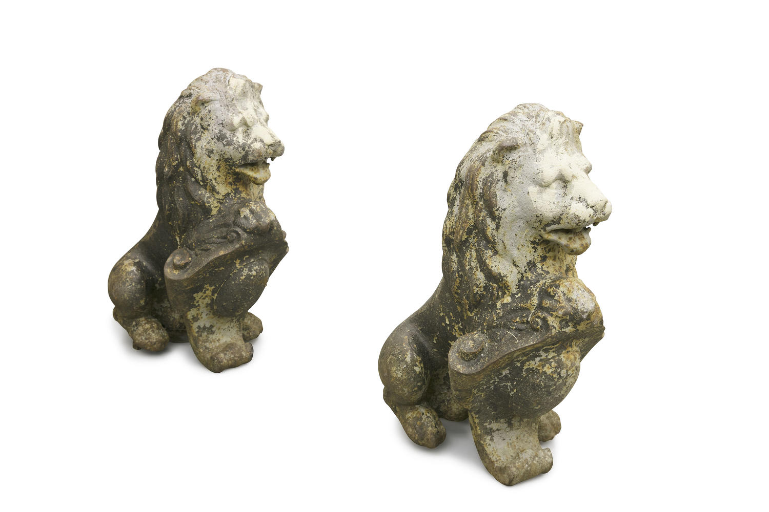 A Pair of Victorian Cast Iron Pedestal Lions