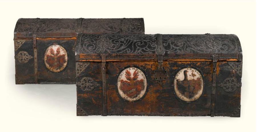 An Important Pair of 17Th century German Iron mounted Leather Trunks.
