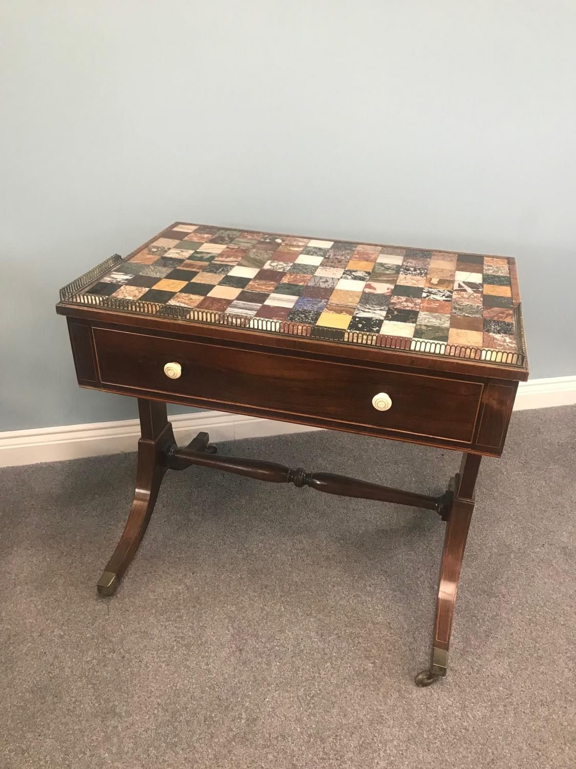 A Regency Mahogany Specimen Marble topped Writing Desk