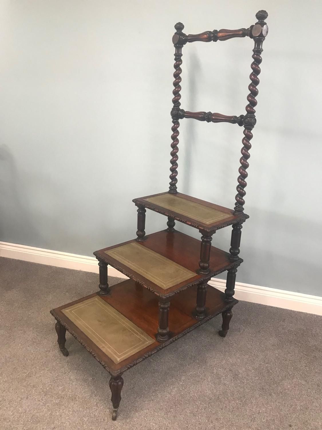 A Fine Set of Victorian rosewood Library Steps