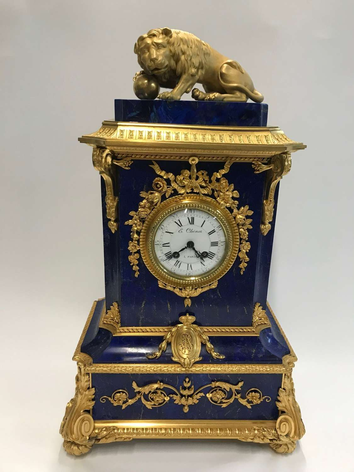 An Important 19TH C French Ormulu and Lapis Lazuli Table Clock
