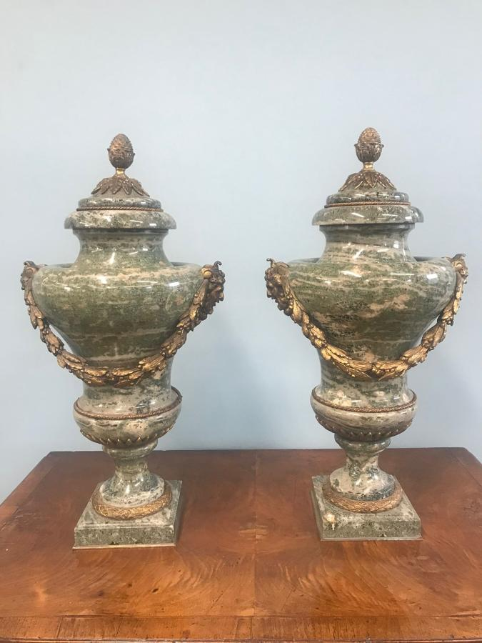 A Pair of Late 19TH French Century marble Vase