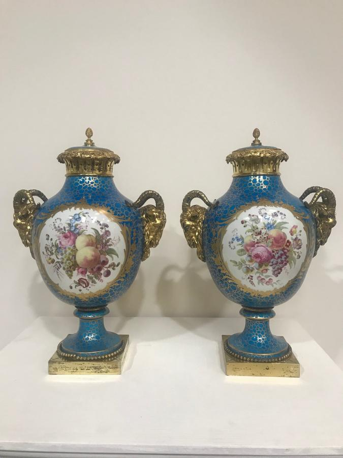 A Pair of French Sevres style Vases and covers , Circa 1860