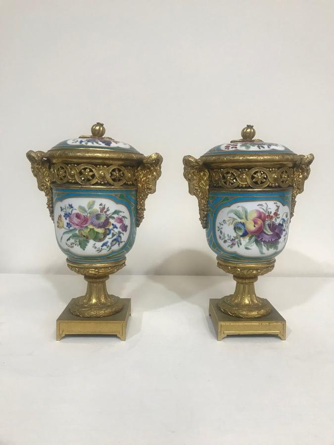 A Pair of French ormulu mounted Sevres style vases and covers C1880