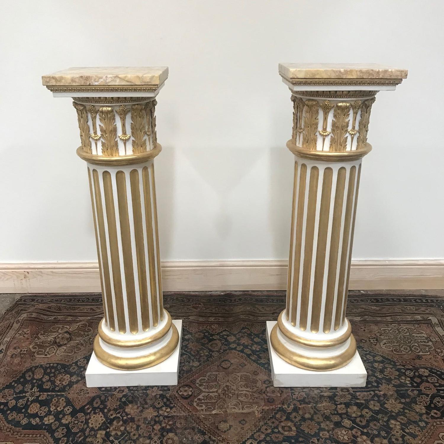 A pair of Superb 18Th Century parcel gilt and white painted Pedestals