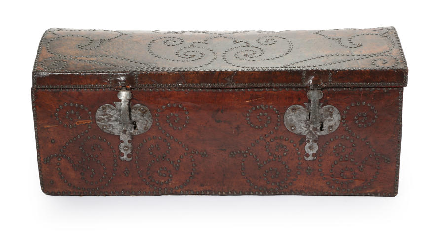 A Mid 18Th Century George 111 Leather Trunk.