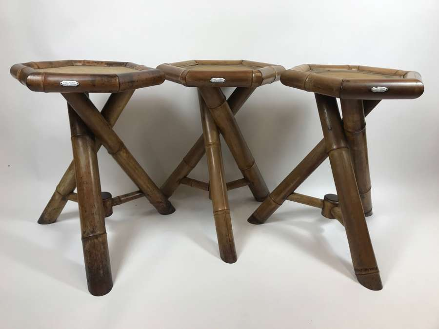 Rare Set of 3 19Th century Bamboo Tables , Makers Perret & Vibert Pari
