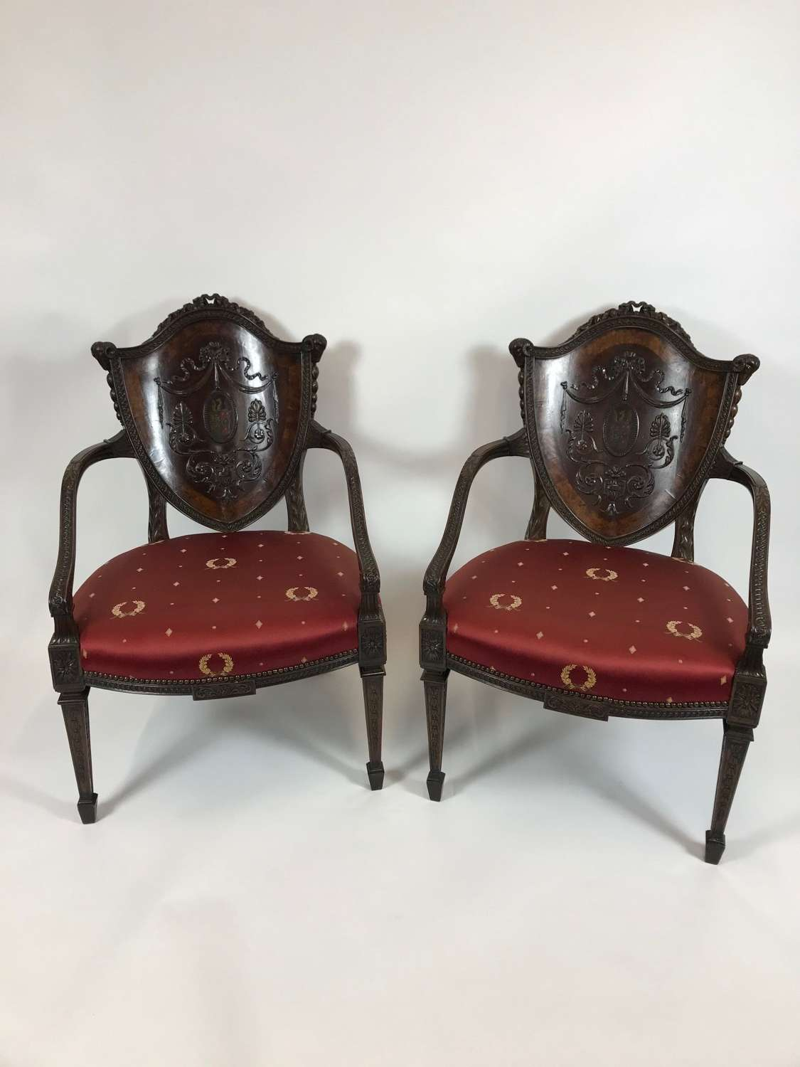A Fine Pair of late 19th Century Mahogany Armchairs