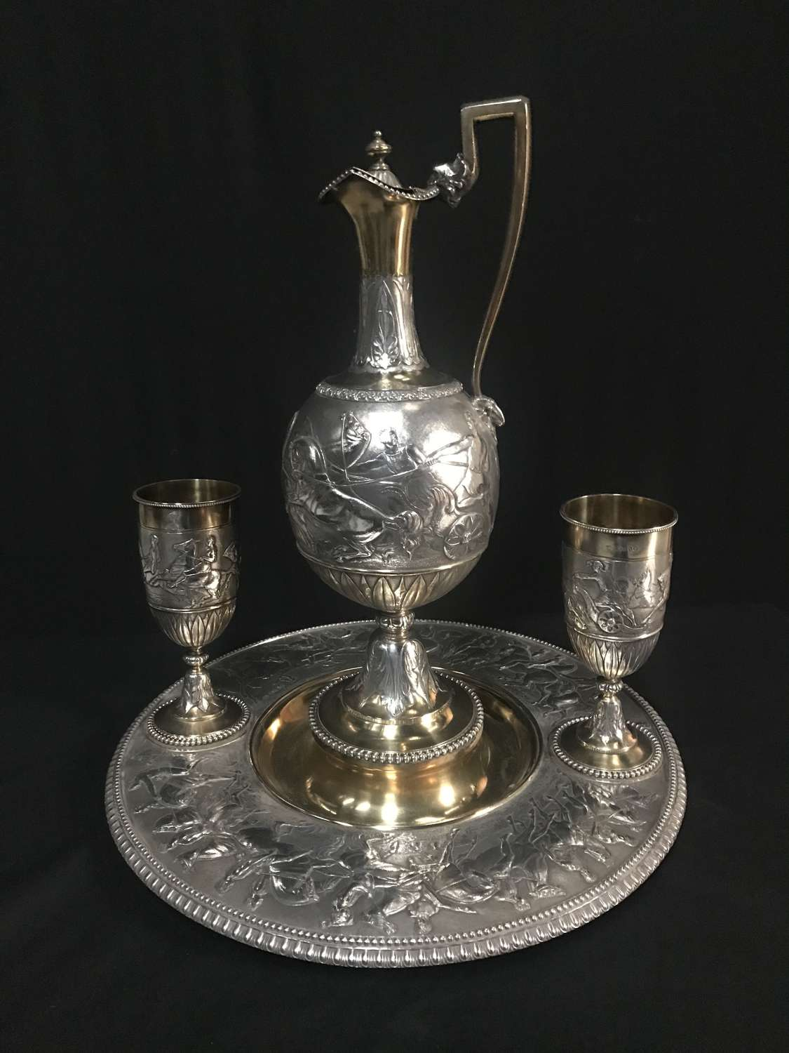 Victorian parcel-gilt Wine Ewer and goblets.Stephen Smith London 1866