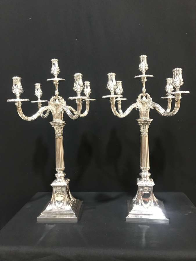 Impressive pair of German silver 5 branch Candelabra