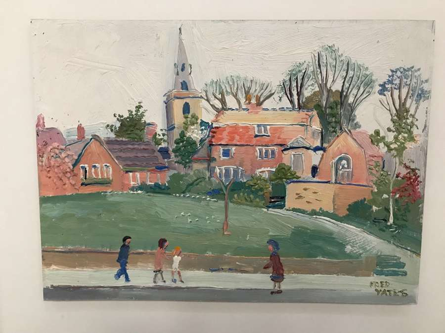 Fred Yates (1922-2008) Oilpainting on masonite , Village green with fi