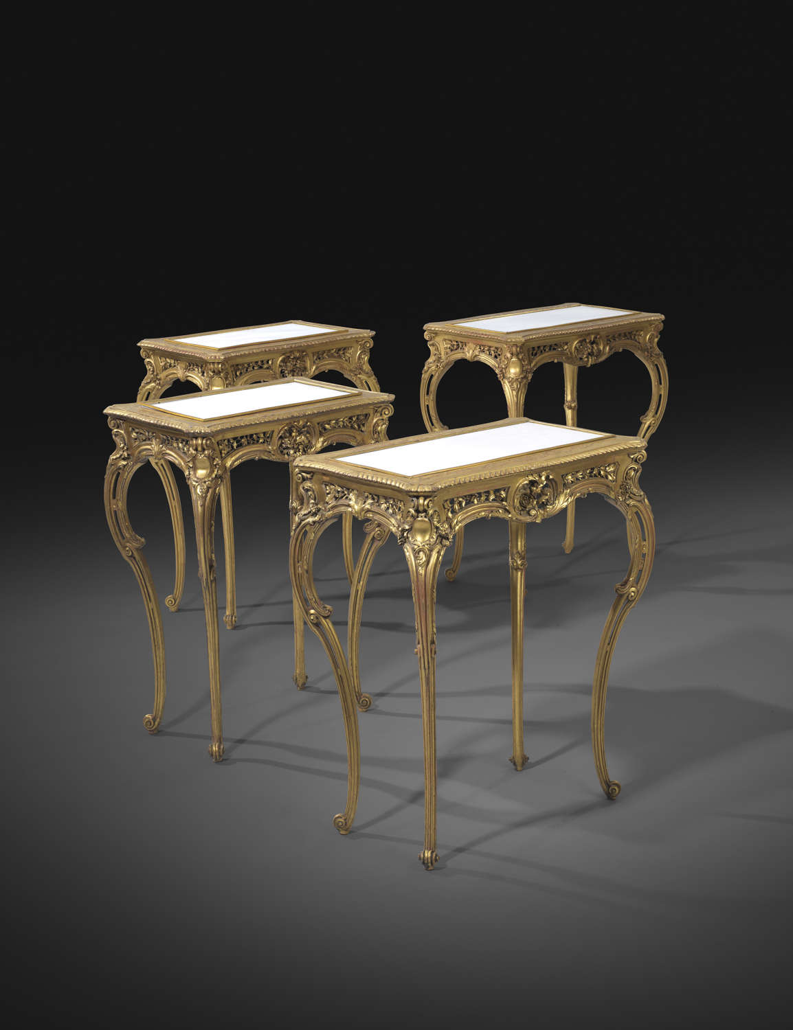 An Important set of 4 Giltwood  Side Tables attrib to Francois Linke