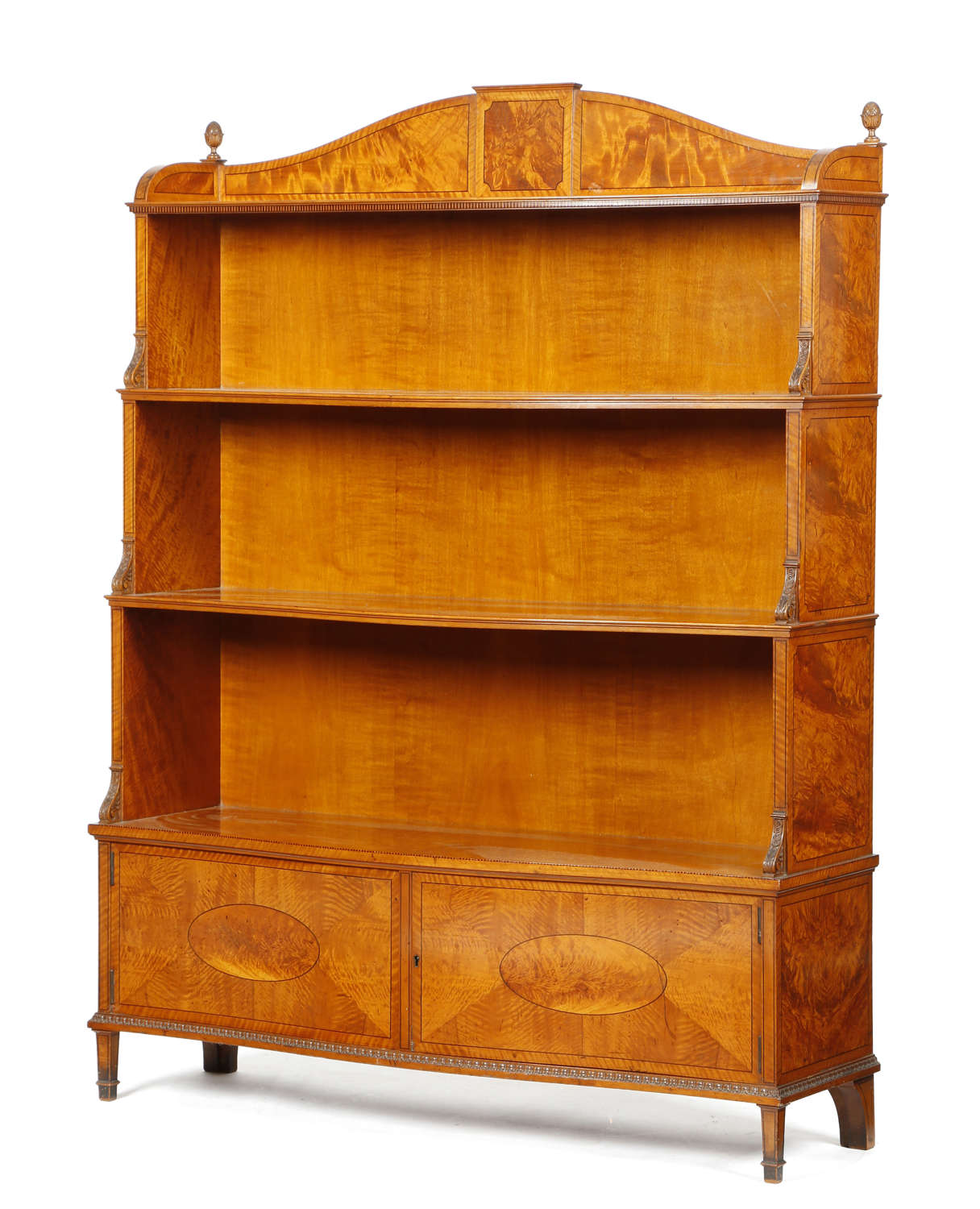 A Victorian Satinwood Waterfall open Bookcase Circa 1890