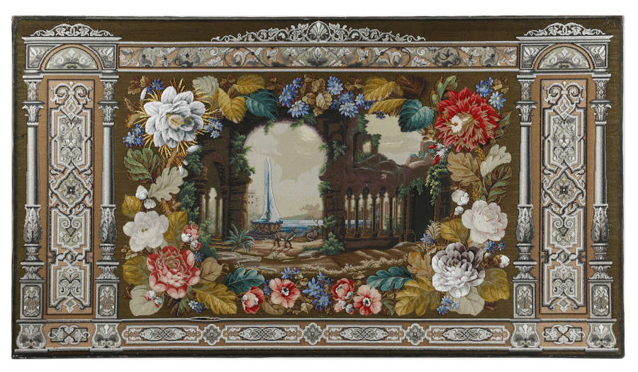 A large Victorian Tapestry Beadwork Picture .Circa 1860