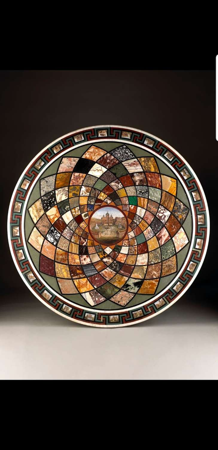 A Marble and Micromosaic Italian early 19Th century Table Top