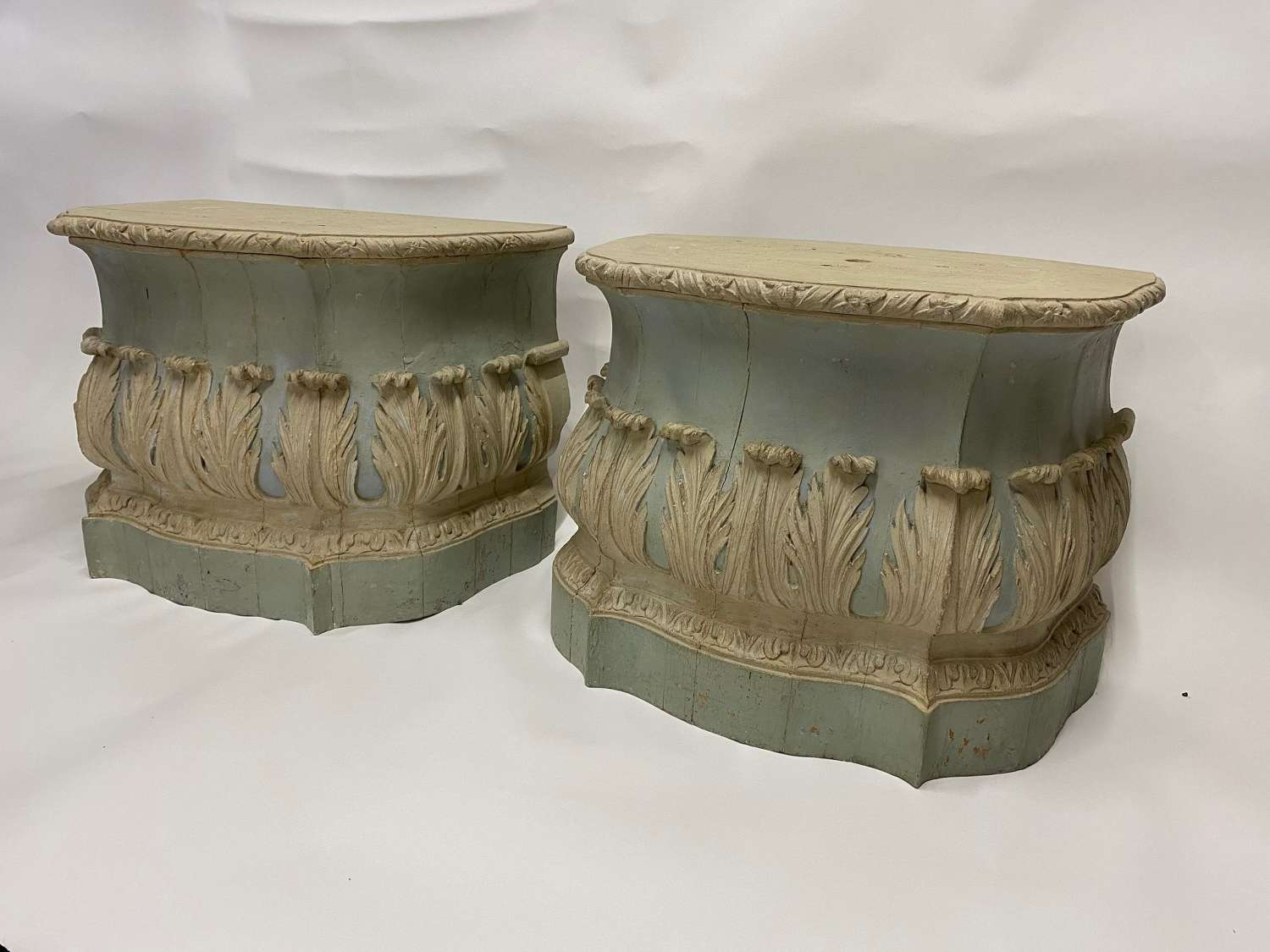 A Pair of George 11 carved painted Pedestals by William Hallett